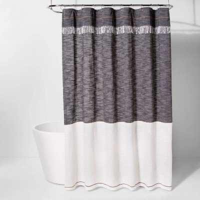 """72""""x72"""" Chambray Colorblock Shower Curtain Black/White - Project 62™"""