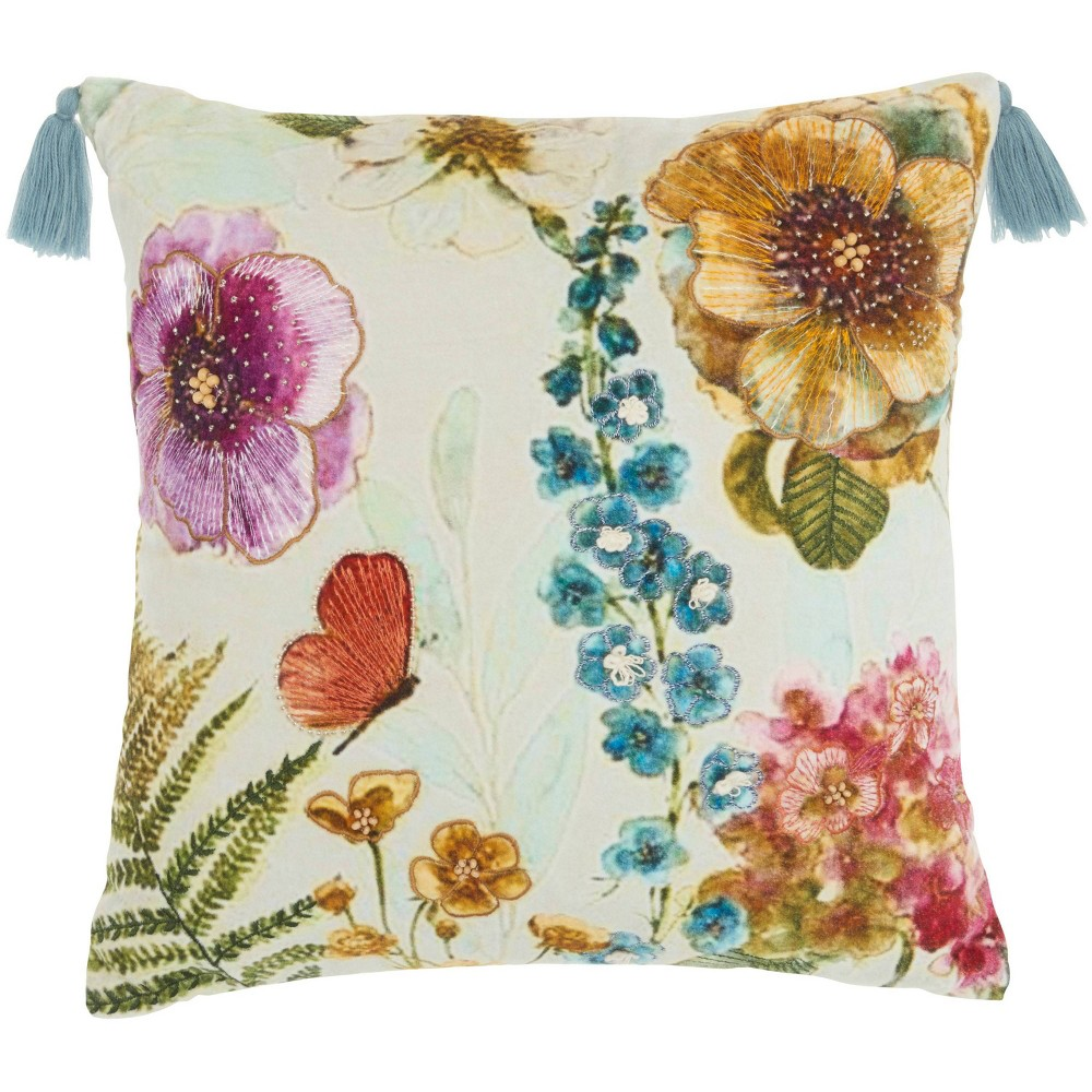18 34 X18 34 Sofia Embellished Floral Garden Square Throw Pillow Mina Victory
