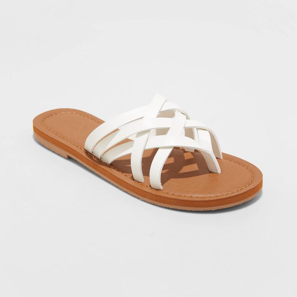 Women 39 S Josephine Wide Width Multi Strap Sandals Universal Thread 8482 White 6 5w