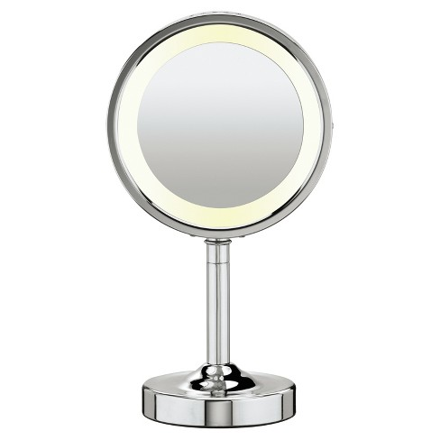 Makeup Mirror.Conair Double Sided Lighted Makeup Mirror With 5x Magnification