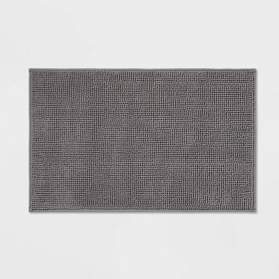 "20""x32"" Everyday Chenille Bath Rug Dark Gray - Room Essentials™"