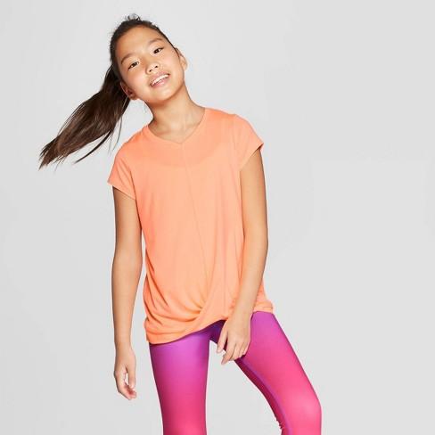 a517d227 Girls' Knot Front Super Soft Tech T-Shirt - C9 Champion® Sunset Peach S :  Target