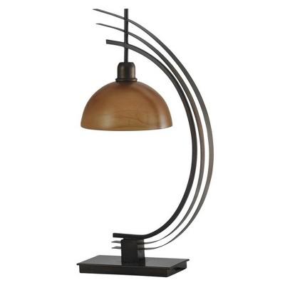 Abode 84 29 Inch Orbit Arc Metal Desk Table Lamp with Glass Globe, Bronze