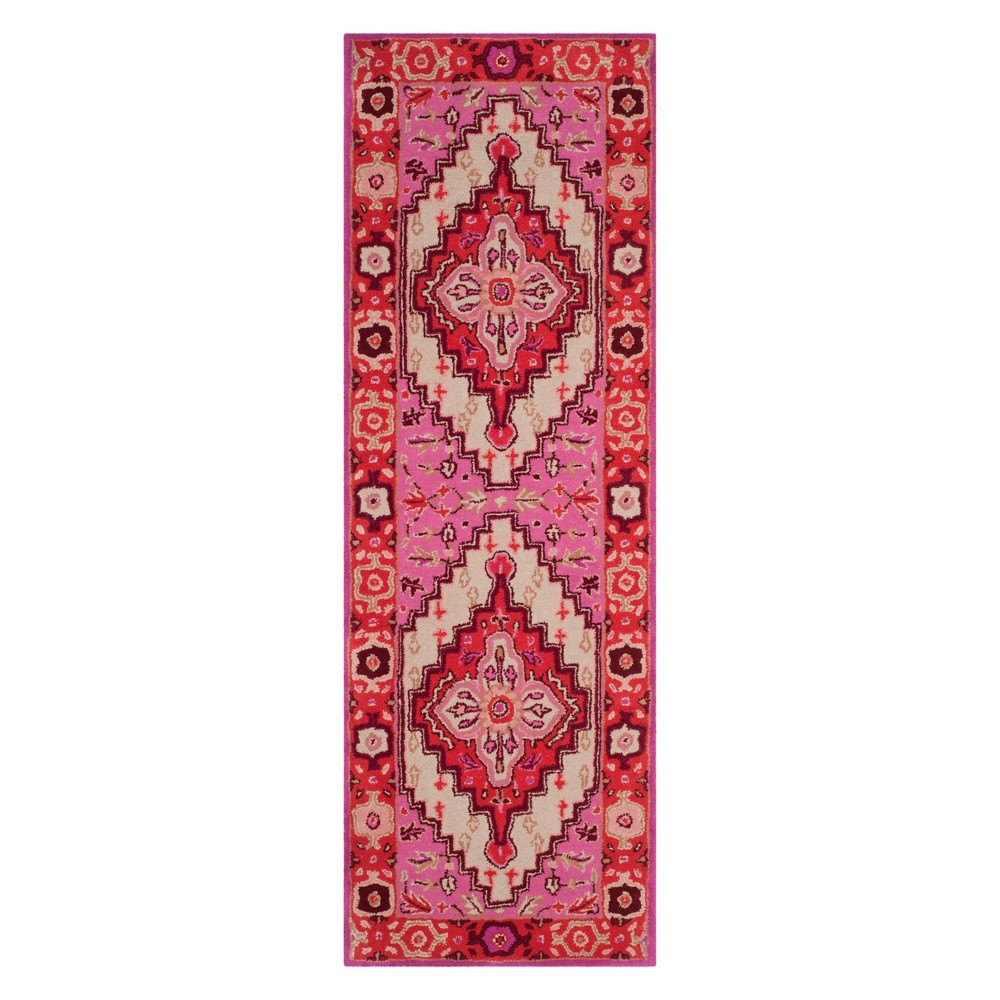 2'3X9' Medallion Runner Red Pink/Ivory - Safavieh, White Red Pink
