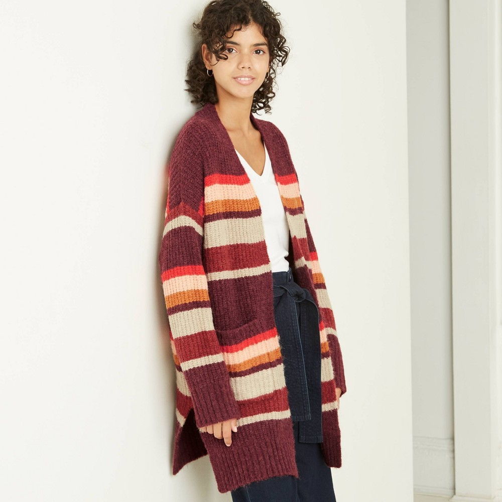 Women 39 S Striped Open Front Cardigan A New Day 8482 Burgundy Cream Red S
