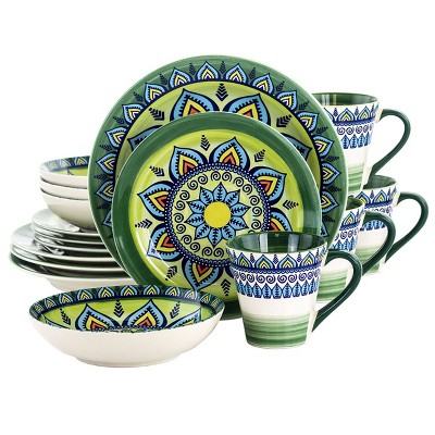 16pc Stoneware Kaleidoscope Dinnerware Set Green - Elama