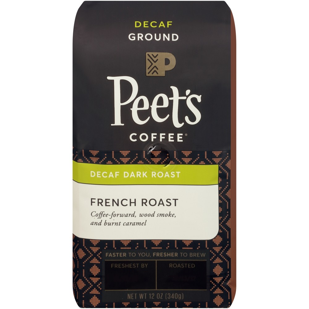 Peet's French Dark Roast Ground Coffee - Decaf - 12oz Enjoy a cup of joe at anytime of day with Peet's Decaf French Deep Roast Ground Coffee. Pre-ground coffee boasts an added convenience that whole bean coffee doesn't — it comes ready to brew. Simply toss the grounds in your drip coffee maker, espresso machine or whatever your preferred brewing method is, and enjoy this French roast coffee with notes of caramel and wood smoke in no time.