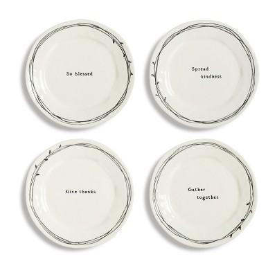 DEMDACO Gatherings Ceramic Plates - 4 Assorted 8 x 8 - White