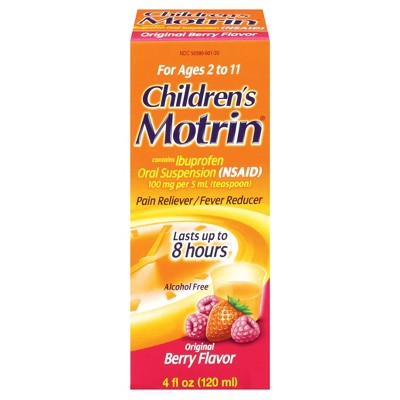 Children's Motrin Pain Reliever and Fever Reducer Liquid - Ibuprofen (NSAID)- Berry Syrup - 4 fl oz