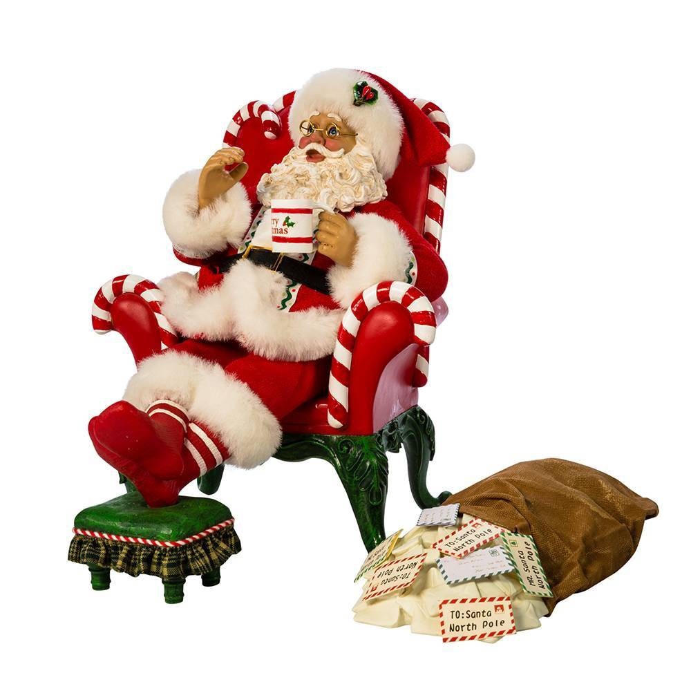 "Image of ""10""""/2pc Kurt Adler Musical Armchair Santa with Mail Bag Decorative Sculpture Set"""