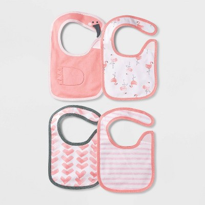 Baby Girls' 4pk Flamingo Bib - Cloud Island™ Coral