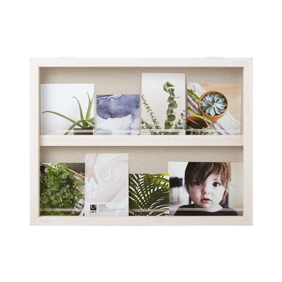 "20"" x 15"" Ledge Landscape Photo Display with Real Linen Backer White - Loft By Umbra"