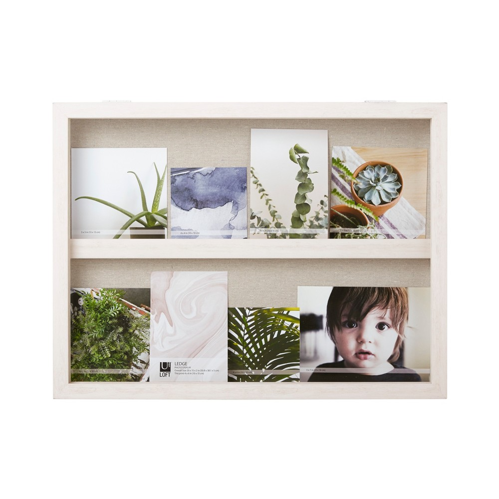 "Image of ""20""""X15"""" Ledge Landscape Photo Display With Real Linen Backer White - Loft By Umbra"""