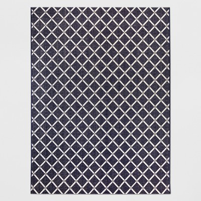 5' x 7' Garden Lattice Outdoor Rug Navy - Threshold™