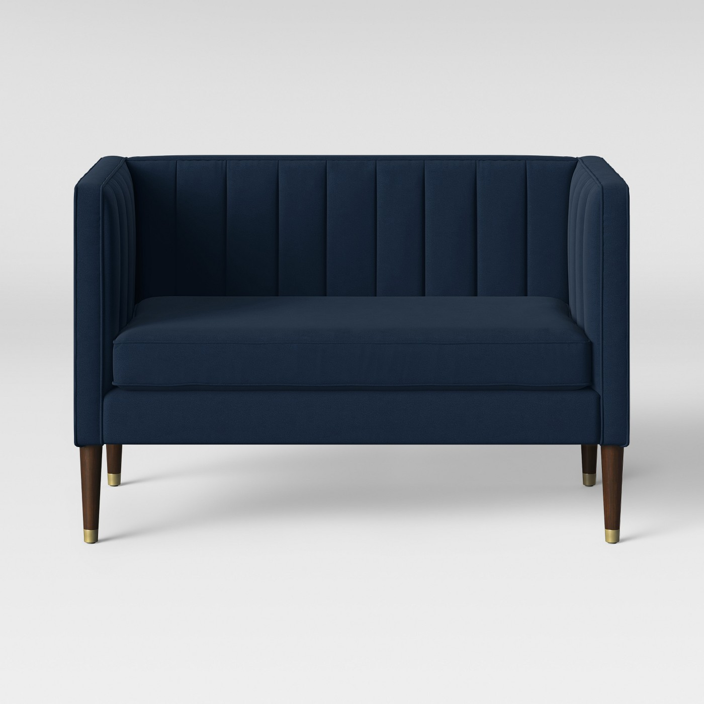Soriano Channel Tufted Settee Navy Velvet - Project 62™ - image 1 of 5