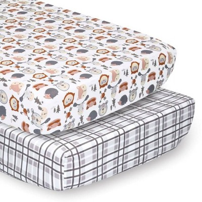 PS by The Peanutshell Sheets Gray Woodland Faces/Plaid 2pk