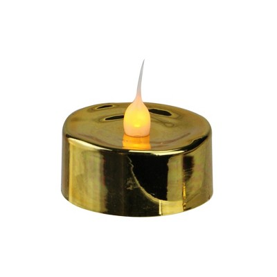 Darice Set of 3 Gold LED Lighted Flickering Flame Tea Light Candles