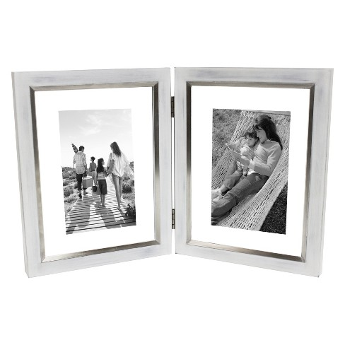 "5""X7"" Double Opening Float Frame With Hinge Silver - Threshold™ - image 1 of 4"