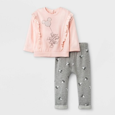 Baby Girls' 2pc Minnie Mouse Fleece Pullover and Jogger Set - Light Pink