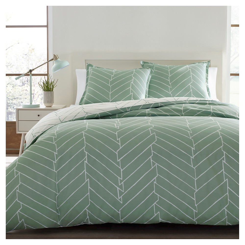Image of Ceres Duvet Cover Set Full/Queen Light Green - City Scene