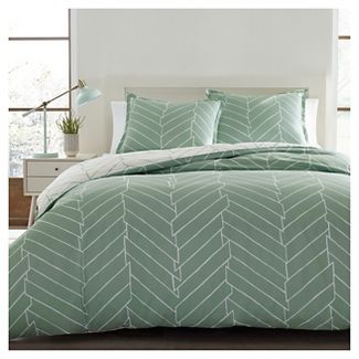 Full/Queen Ceres Duvet Cover Set Light Green - City Scene