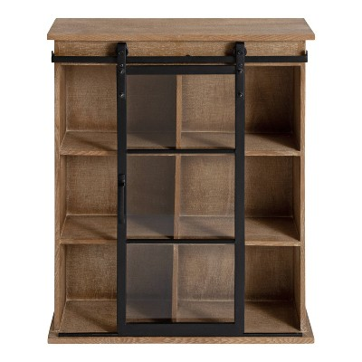 """22"""" x 28"""" Barnhardt Decorative Wooden Wall Cabinet with Sliding Glass Door Rustic Brown - Kate & Laurel All Things Decor"""