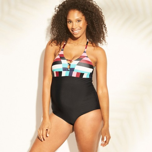 Maternity Striped Lace-Up One Piece Swimsuit - Sea Angel - Victorian Stripe - image 1 of 2