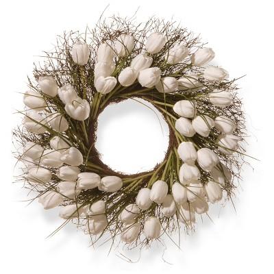 "Artificial Tulip Wreath White 24"" - National Tree Company"