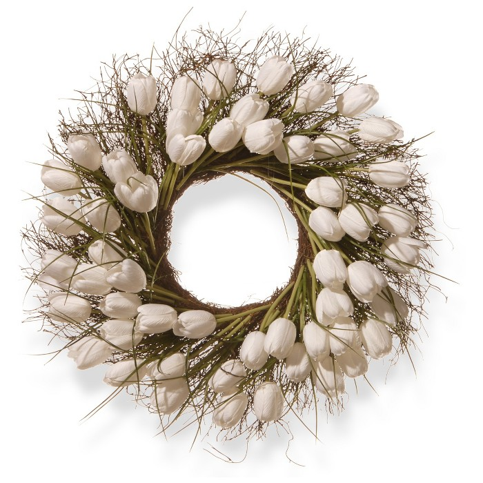 """Artificial Tulip Wreath White 24"""" - National Tree Company® - image 1 of 1"""