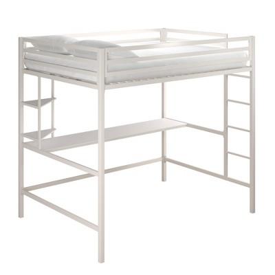 Full Maxwell Metal Loft Bed with Desk & Shelves White - Novogratz