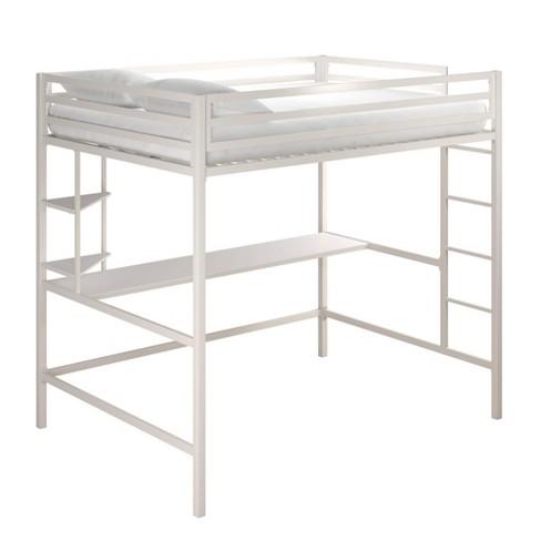 Full Maxwell Metal Loft Bed With Desk Shelves White Novogratz Target