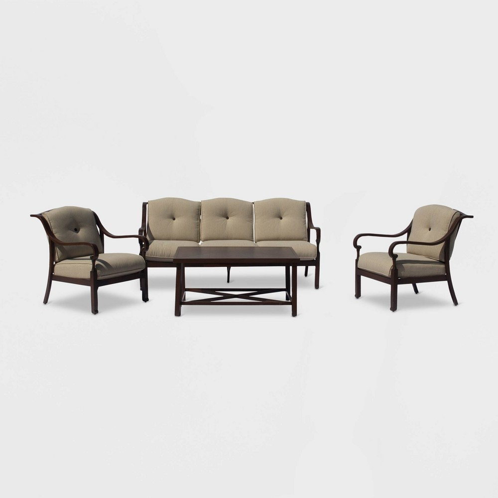 Glen Ives 4pc Aluminum Outdoor Sofa Set with Cushions - Brown/Green - Courtyard Casual