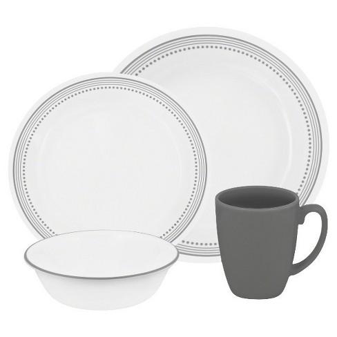 Corelle 174 Livingware 16pc Dinnerware Set Mystic Gray