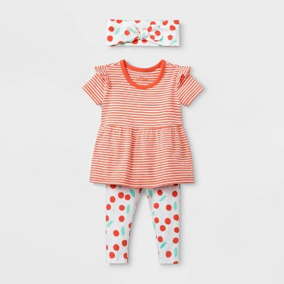 Baby Girls' Short Sleeve Cherry Print Top & Bottom Set - Cat & Jack™ Orange 12M