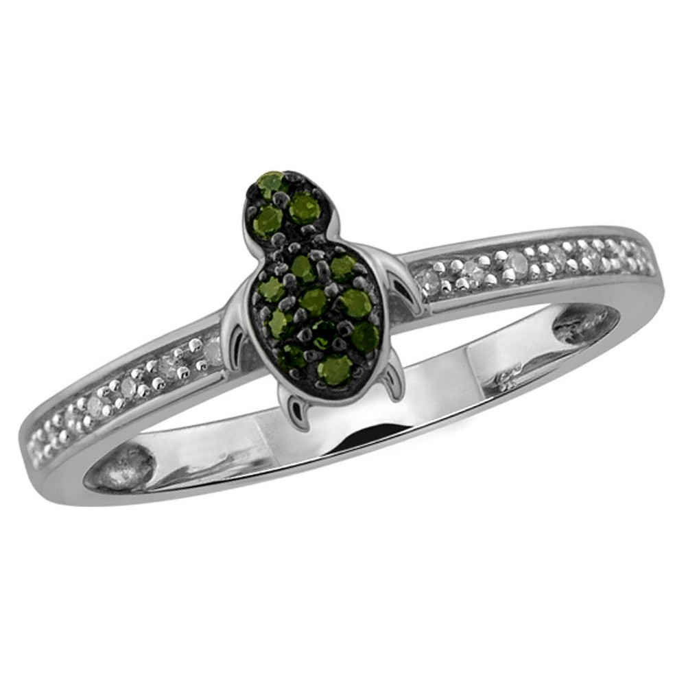 Image of 1/10 CT. T.W. Round-Cut Green and White Diamond Prong Set Turtle Ring - White (6), Women's