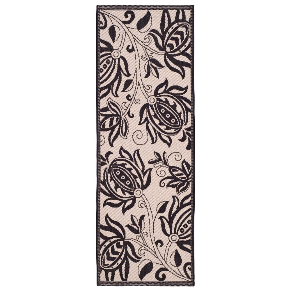 Gori Rectangle 2'4X12' Runner Outdoor Patio Rug - Sand / Black - Safavieh, Brown/Black