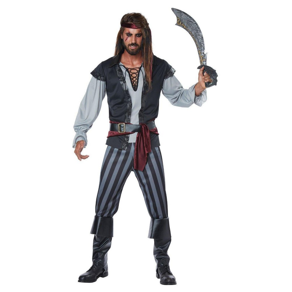 Men's Scallywag Pirate Adult Costume X-Large, Size: XL, Multicolored