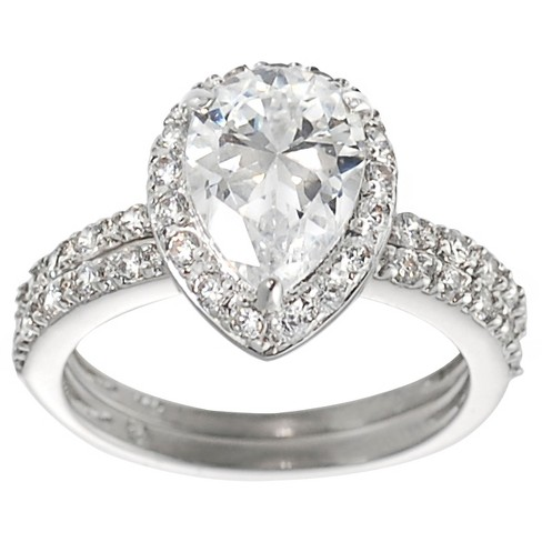 1 2/5 CT. T.W. Pear-cut Cubic Zirconia Bridal-style Prong Set Ring Set in Sterling Silver - Silver - image 1 of 2