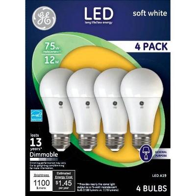 General Electric 4pk 75W LED Aline Light Bulbs
