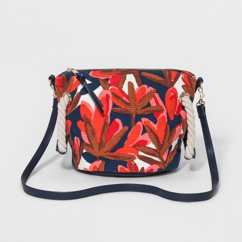 Floral Print Pouch Crossbody Bag - Who What Wear™ Blue - image 1 of 4