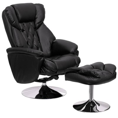 2pc Transitional Multi Position Recliner and Ottoman Set Black - Riverstone Furniture Collection