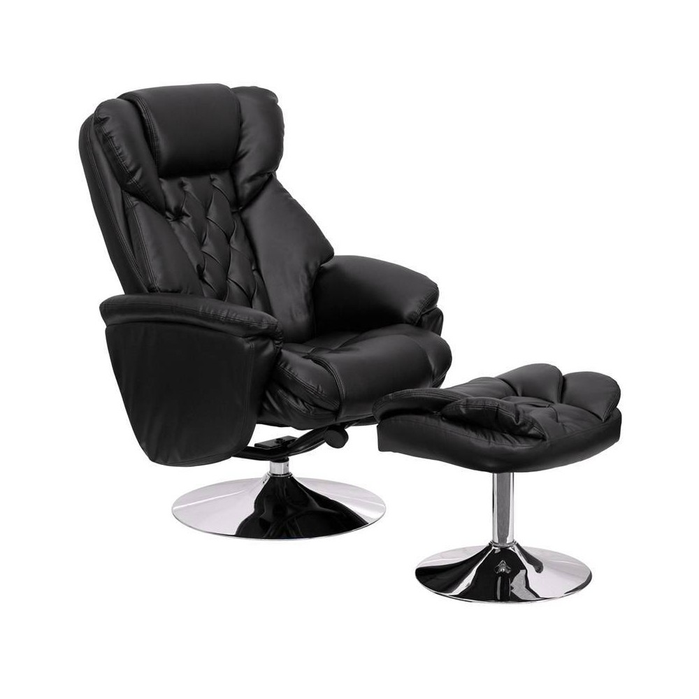 Image of 2pc Transitional Multi Position Recliner and Ottoman Set Black - Riverstone Furniture Collection