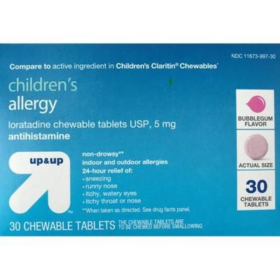 Children's Loratadine Allergy Relief Chewable Tablets - Bubblegum - 30ct - up & up™