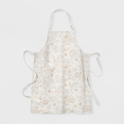Floral Print Cooking Apron White/Taupe - Threshold™