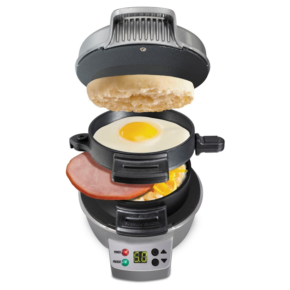 Hamilton Beach Breakfast Sandwich Maker with Timer – Dark Gray 25478 14437927