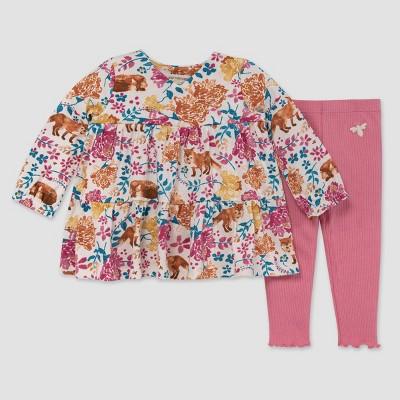 Burt's Bees Baby® Baby Girls' Wild Foxes Tunic & Ribbed Leggings Set - Rose Pink 3-6M