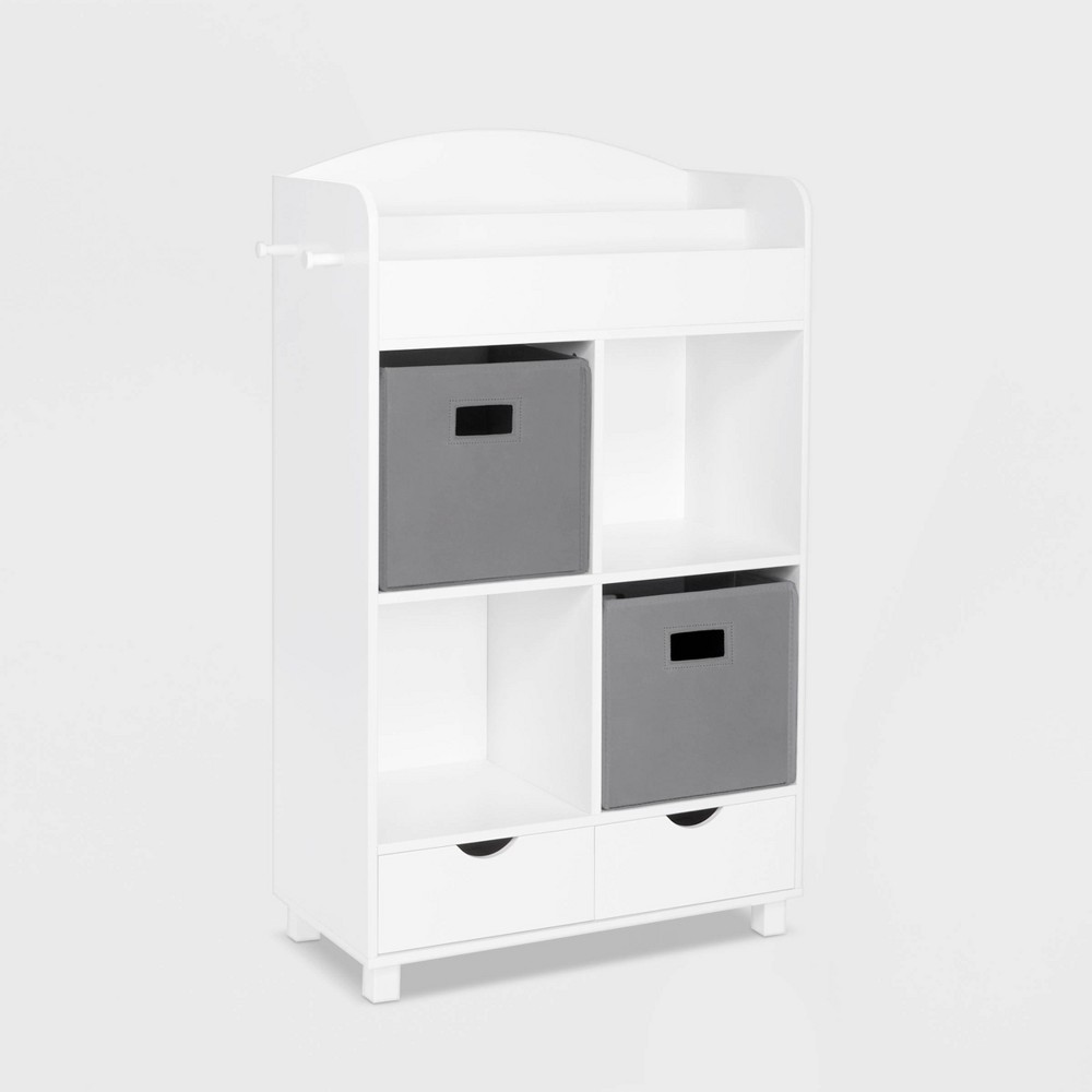 Image of 2pc Bin Book Nook Kids Cubby Storage Cabinet with Book Rack Gray - RiverRidge
