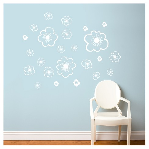 Belle Flowers Wall Decal -White - image 1 of 1