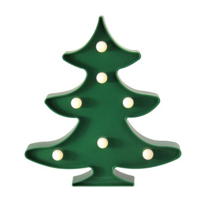 "Northlight 8.75"" Battery Operated LED Lighted Christmas Tree Marquee Sign - Green"
