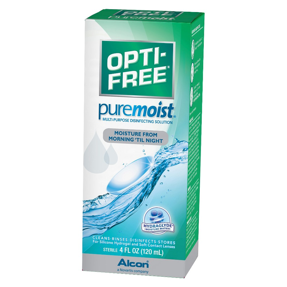 Opti-free Pure Moist Contact Lens Solution - 4 oz. Be kind to your eyes with Opti-Free Contact Solution from PureMoist. A disinfecting contact solution that's gentle enough for sensitive eyes, it creates a barrier across the lens dispelling dirt and grit throughout the day. Suitable for all types of contact lenses including silicone hydrogels, this solution helps reduce microorganisms that can lead to infections. Size: 4.0 fl oz. Age Group: Adult.